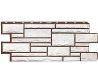 Фасадные панели (цокольный сайдинг) коллекция Дикий камень - Белый