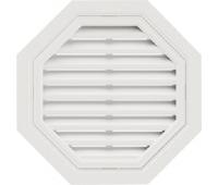 Восьмиугольная фронтонная вентиляционная решётка Белая